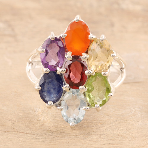 Multi-Gemstone Chakra Cocktail Ring from India 'Chakra Glitter'