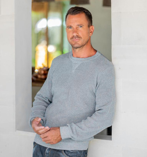 Men's Recycled Cotton Pullover in Blue from Guatemala 'Sporting Elegance in Blue'