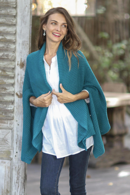Patterned Knit Cotton Shawl in Teal from Thailand 'Chic Warmth in Teal'