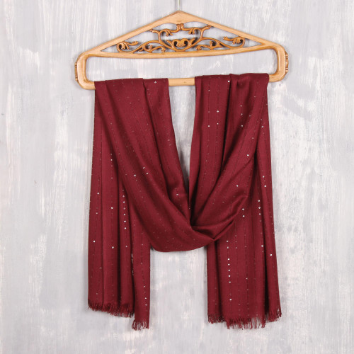 Embellished Viscose Shawl in Cranberry from India 'Cranberry Glimmer'