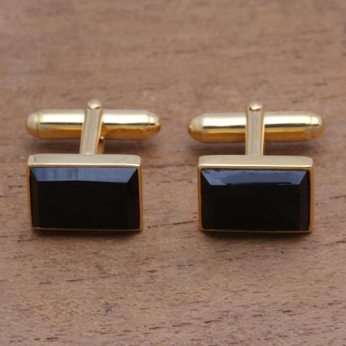 Gold Plated Rectangular Onyx Cufflinks from Bali 'Regal Rectangles'