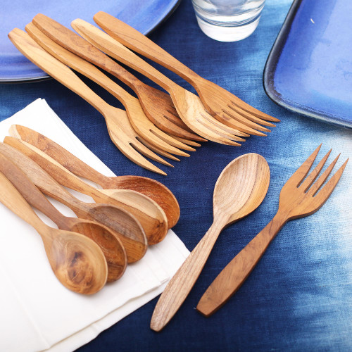Teakwood Fork and Spoon Set from Bali 12 Piece 'Delicious Meal'