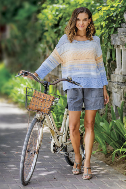 Ombre Fade Knit Cotton Blend Pullover Sweater from Peru 'Sunset in Spring'