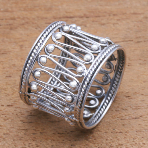 Openwork Pattern Sterling Silver Band Ring from Bali 'Openwork Path'