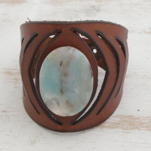Brazilian Amazonite and Brown Leather Wristband Bracelet 'Gemstone Gaze'
