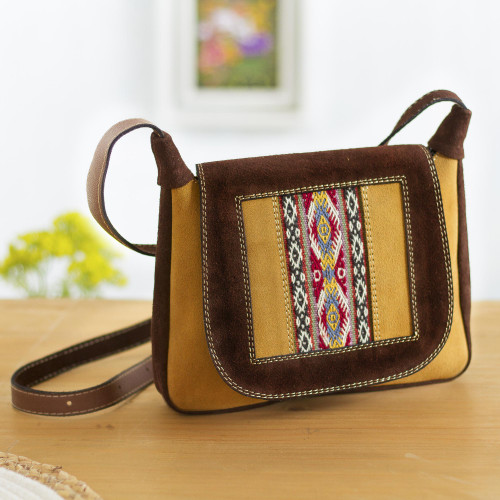 Wool Accented Suede Messenger Bag from Peru 'Fun Travels'