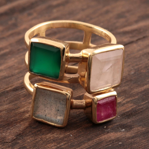 Gold Plated Multi-Gemstone Cocktail Ring from India 'Sparkling Squares'