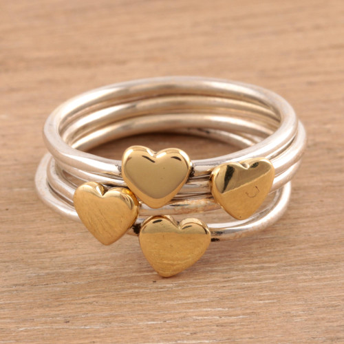 Sterling Silver and Brass Heart Band Rings from India 'Heart Royalty'