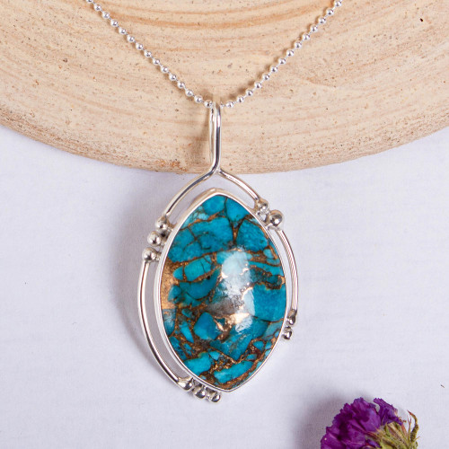 Composite Turquoise and Taxco Silver Pendant Necklace 'Wintry Eye'