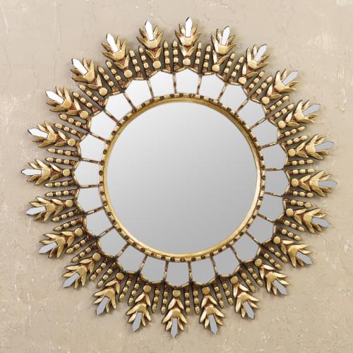 Colonial Bronze Gilded Wood Wall Mirror from Peru 'Golden Blaze'