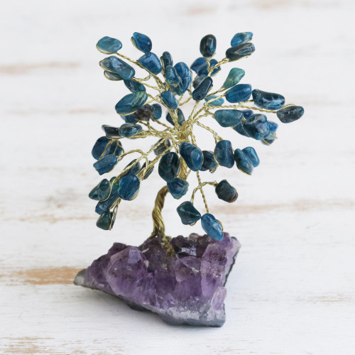 Apatite Gemstone Tree with an Amethyst Base from Brazil 'Oceanic Leaves'