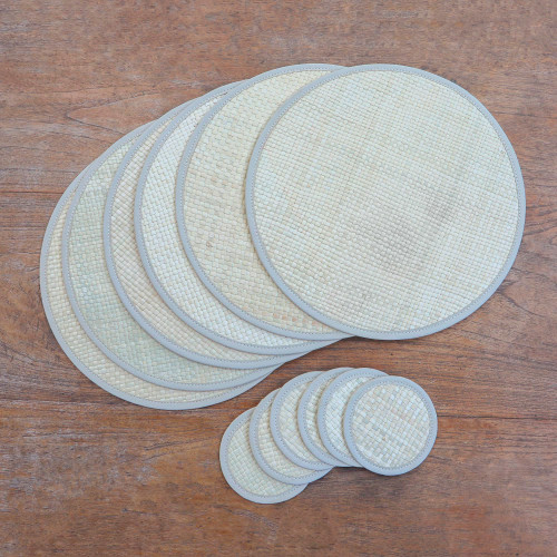 Round Woven Pandanus Leaf Placemats and Coasters Set of 6 'Nature in the Round'