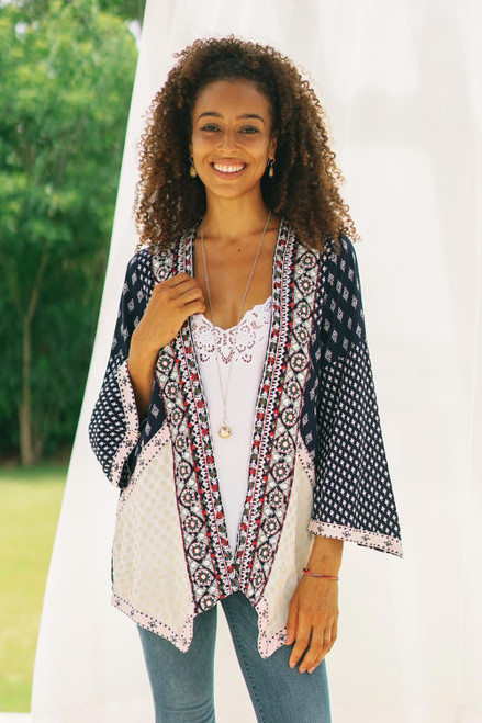 Embroidered Open Jacket in Midnight Blue 'Boho Beauty'