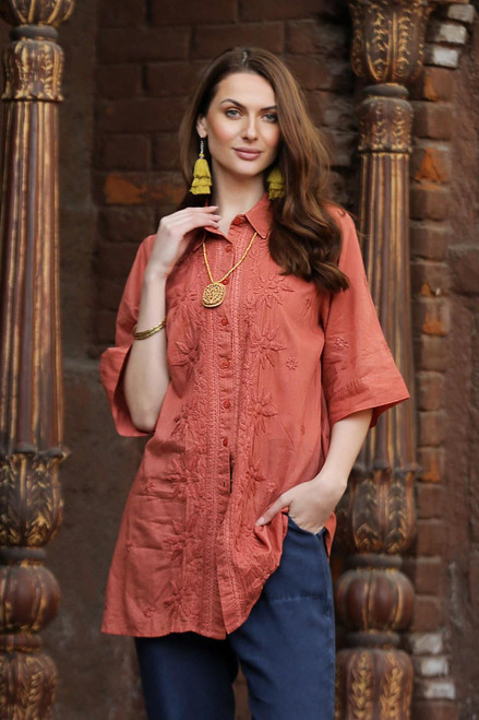 Embroidered Floral Terracotta Cotton Shirt 'Chikan Chic'