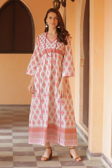 Pink Floral Print Cotton Maxi Dress 'Floral Fantasy'