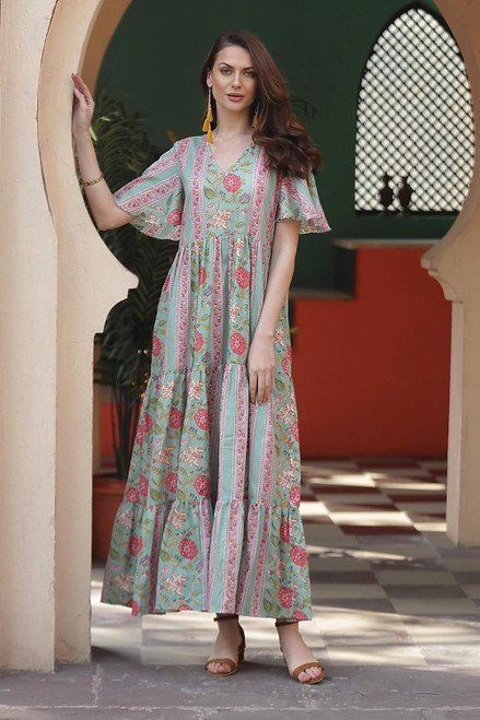Flutter Sleeve Cotton Maxi Dress from India 'Floral Symphony'