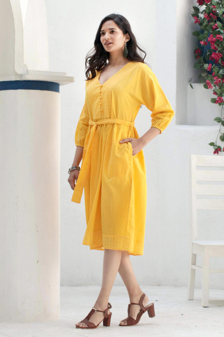 Yellow Cotton Tie Waist Midi Dress 'Marigold Muse'