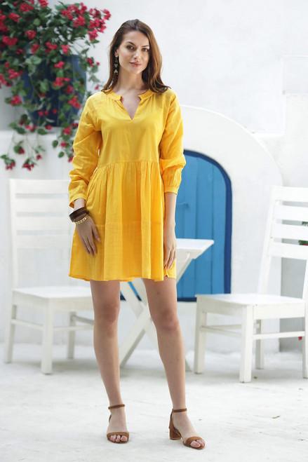 Short Cotton Babydoll Dress in Yellow 'Marigold Mischief'