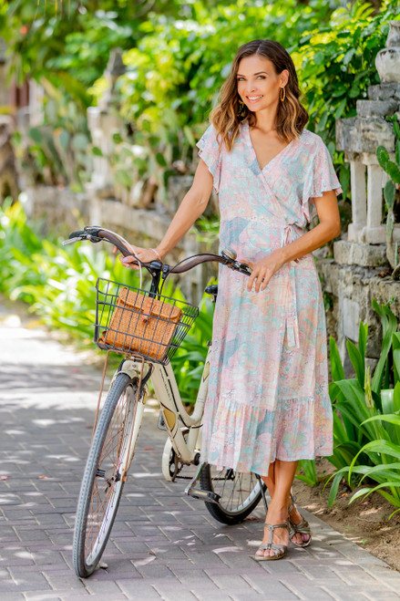 Butterfly Sleeve Rayon Wrap Dress in Pink and Aqua 'Sekar Jagad'