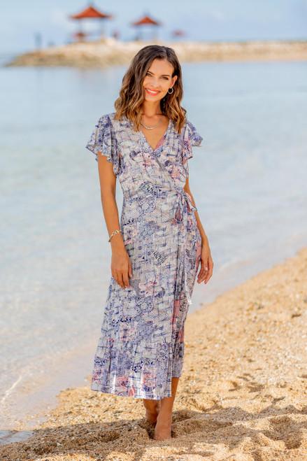 Rayon Wrap Dress Designed in Bali 'Wijaya Kusuma'