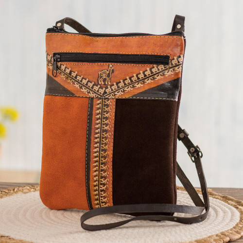 Llama Pattern Leather Accented Suede Sling in Brown 'Mountain Llama'