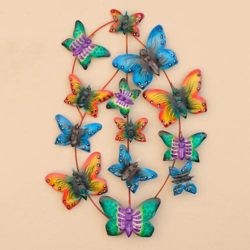 Steel Butterfly Wall Art Handmade in Bali 'Social Butterflies'