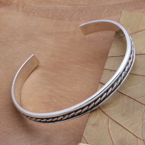 Sleek Hand Crafted Sterling Silver Cuff Bracelet 'Measure by Measure'