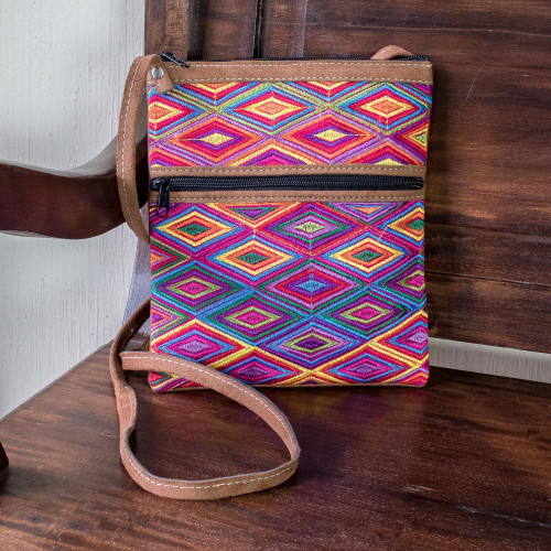 Cotton and Faux Suede Sling with Hand Woven Panel 'Diamond Essence'
