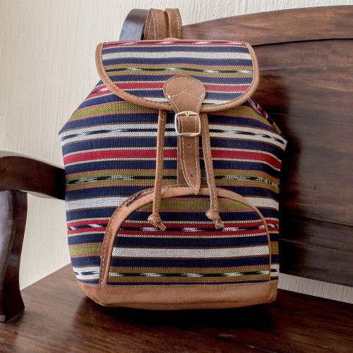 Artisan Crafted All Cotton Unisex Backpack 'Antigua Lands'