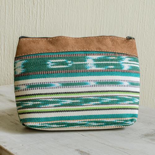 Striped Cotton Cosmetic Bag Handmade in Guatemala 'Antigua Fields'