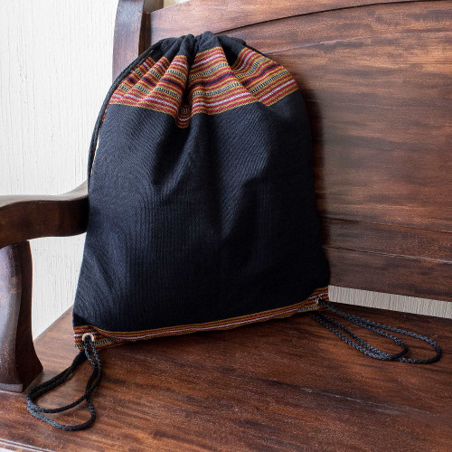 Lightweight Cotton Backpack in Black from Guatemala 'On the Go in Black'