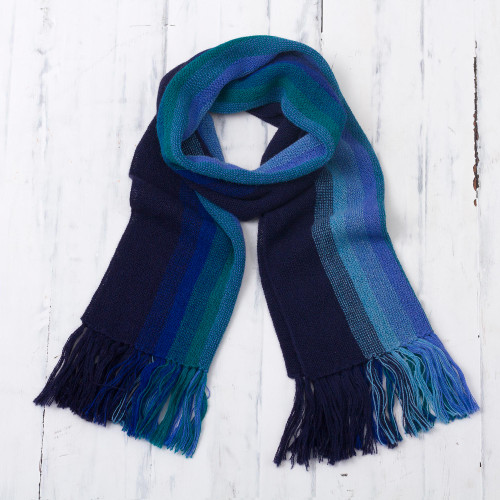 Multicolor Blue and Teal Striped 100 Alpaca Knit Scarf 'Evening Sky Stripes'