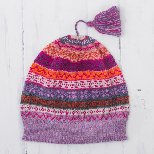 Lilac and Fuchsia and Milk White 100 Alpaca Knit Hat 'Inca Blooms'