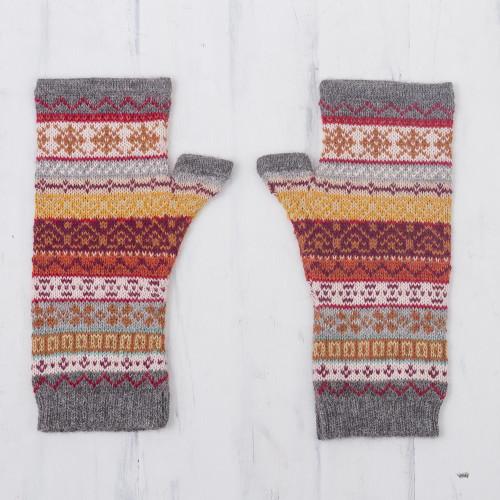 Burnt Sienna Multicolor 100 Alpaca Knit Fingerless Mitts 'Inca Countryside'