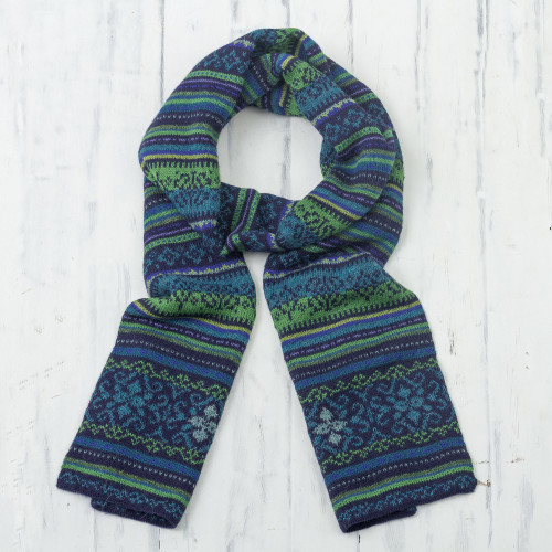 Blue and Green 100 Alpaca Wrap Scarf from Peru 'Blue Turquoise'