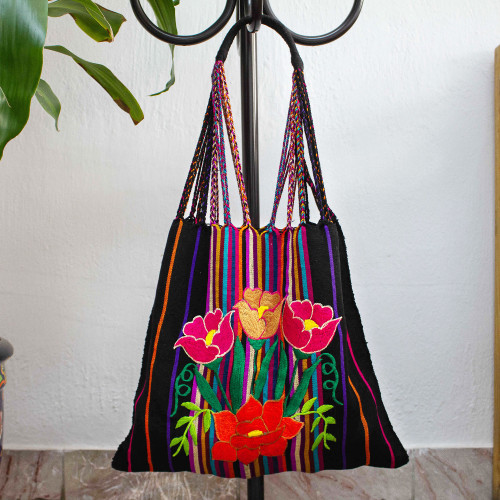 Poppy Embroidered Handwoven Black Cotton Mexican Morral Tote 'Night Poppies'