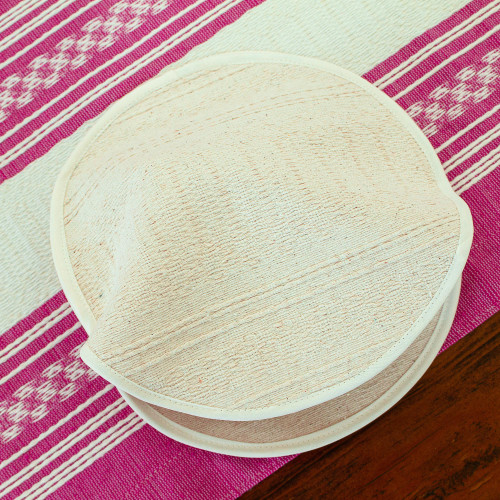 Handwoven Unbleached Ivory Cotton Tortilla Warmer 'Handloomed Textures'