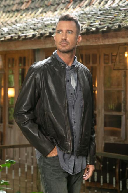 Classic Men's Leather Biker Jacket in Dark Brown 'Suave Elegance'