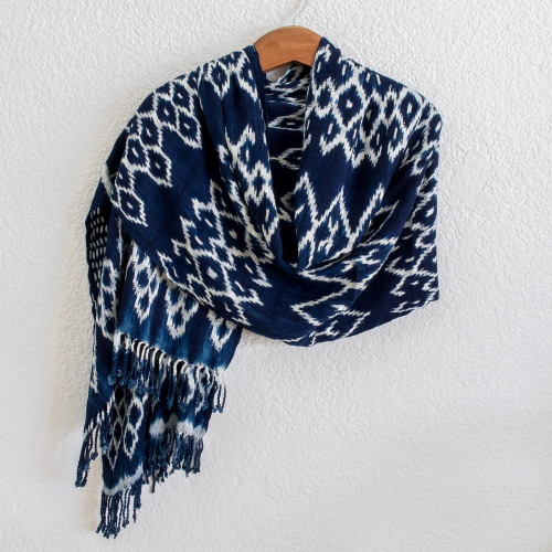 Navy and White Ikat Shawl from Guatemala 'Navy Blue Silhouettes'