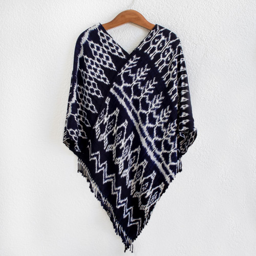 Dark Blue and White Ikat Poncho 'Navy Blue Silhouettes'