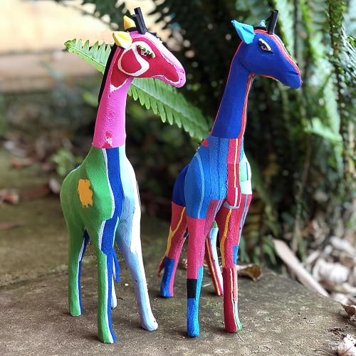 Hand Crafted Recycled Flip-Flop Giraffe Sculpture Medium 'Gentle Giraffe'