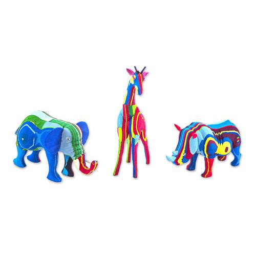 Recycled Flip-Flop Animal Sculptures Medium, set of 3 'Safari'