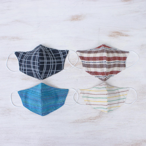 Cotton Handcrafted Thai Face Masks Set of 4--2 L 2 SM 'Weekend Casual'