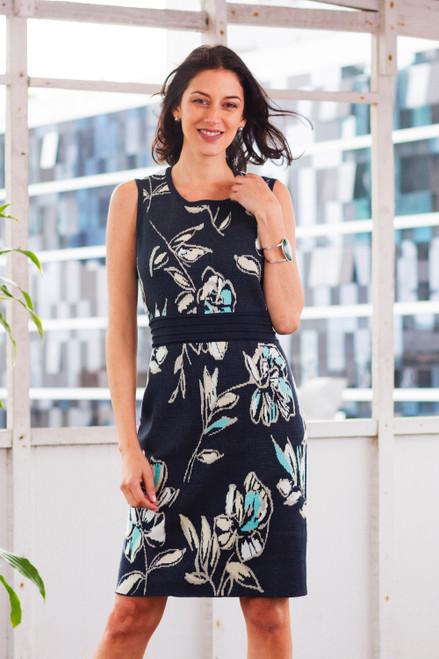 Soft Cotton Jacquard Knit Sheath Dress in Navy Floral 'Lima Lady'