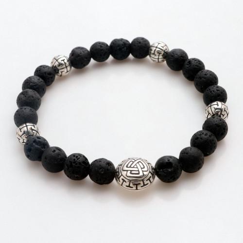 Balinese Black Lava Stone Unity Bracelet with Silver 925 'Unity Triangle'