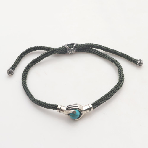Bali Silver  Reconstituted Turquoise Cord Unity Bracelet 'Silver Blue Handshake'