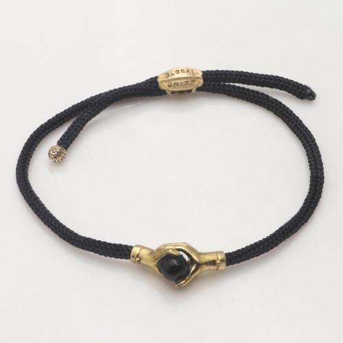 Bali Brass and Black Agate Cord Unity Bracelet 'Golden Handshake'