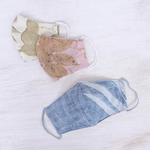 3 Eco-Dyed Blue-Pink-Aqua Print Cotton 3-Layer Face Masks 'Nature's Smile'