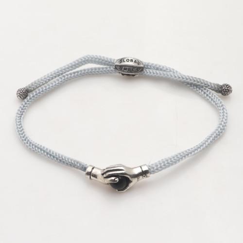 Bali Black Agate  Sterling Silver Grey Cord Unity Bracelet 'Silver Grey Handshake'