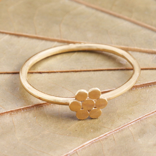 Dainty Gold Plated Flower Motif Ring 'Flower of Gold'